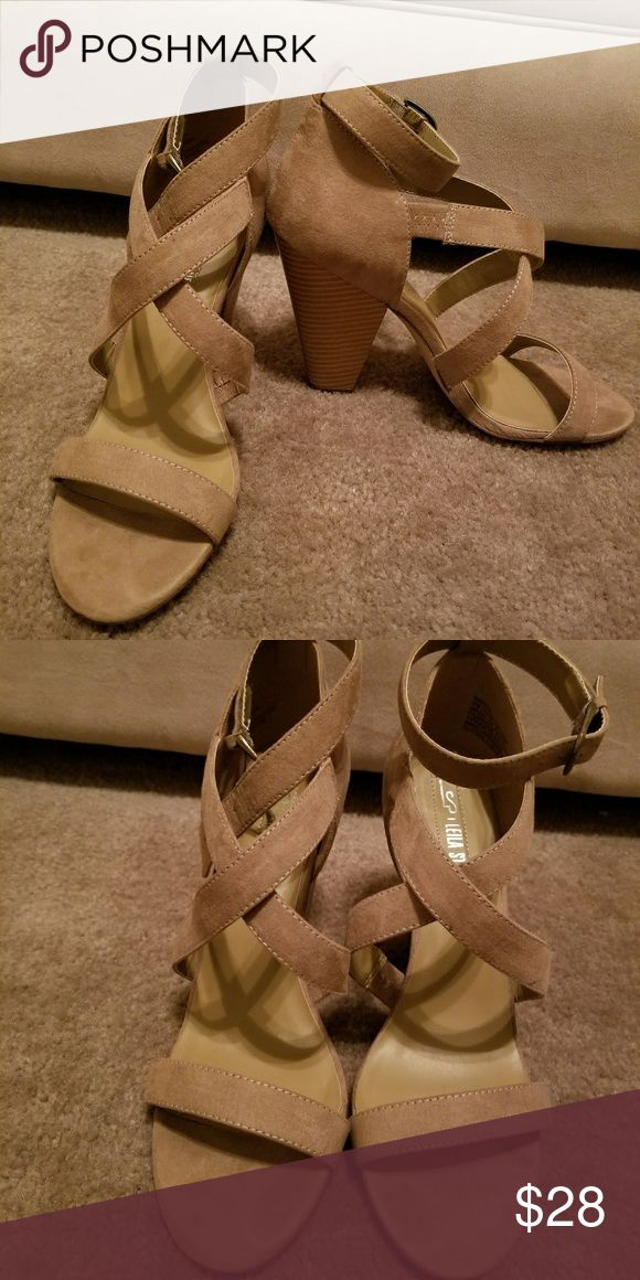 Tan sandals Tan strappy, block heel sandals LEILIA STONE Shoes Heels
