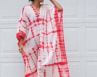 Made to Order for your favorite color, Tie dyed Caftan, Long Kaftan cotton Gauze, Tie dye Long Beach dress, Hand dyed