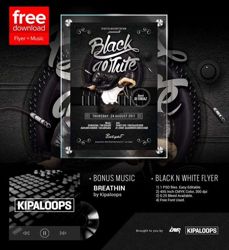 58 best EDM And Nightclub Flyer Poster Template images on - black and white flyer template