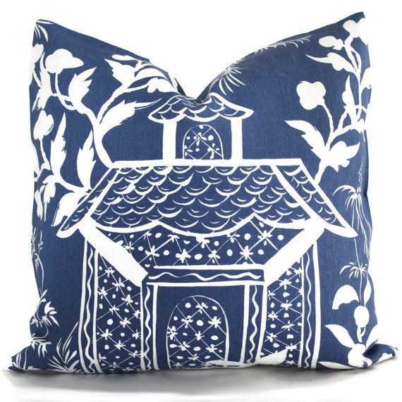 Blue and White Chinoiserie Pillow Cover 22x22 Quadrille China Seas Lyford Print, Toss pillow, Accent Pillow, Throw Pillow, Pillow Cushion