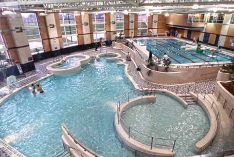 Image: Counsilman-Hunsaker - Kent State University, beautiful circular ramped pool and fitness centre.