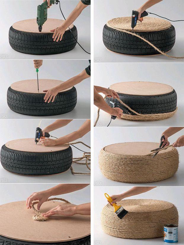 DIY: maak van een oude autoband een poef - Roomed