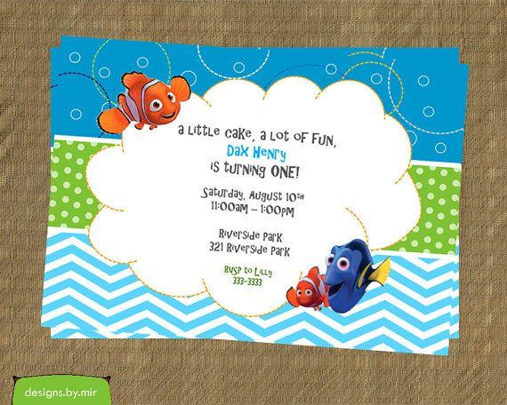 Printable Finding Nemo Birthday Invitation - Nemo First Birthday Party Invitation - Party Invites $12.50 pdf