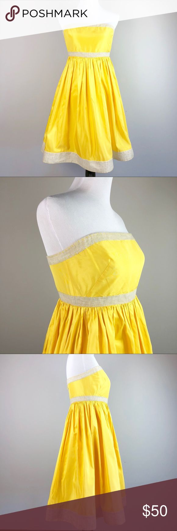 """J. Crew Silk Lemon Yellow & Linen Strapless Dress Like new, J. Crew 100% silk taffeta in a beautiful sunny yellow. Trimmed in Linen, this dress screams """"spring"""". Strapless with an A line skirt. Size 10. Measures: Top of bust: 17.5"""" Underbust (high waist): 15""""  Length: 33""""  🚭smoke and pet free🏡 J. Crew Dresses Strapless"""