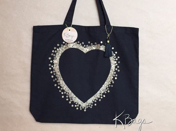 Hand-Painted Canvas Tote Bag  Gold Heart by KristiBags on Etsy