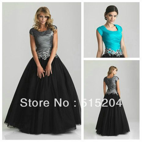 Hot Sale Modest Appliques Blue Black Tulle Ball Gown Prom Dress With Cap Sleeves 2013 New Arrival Free Shipping $152.94