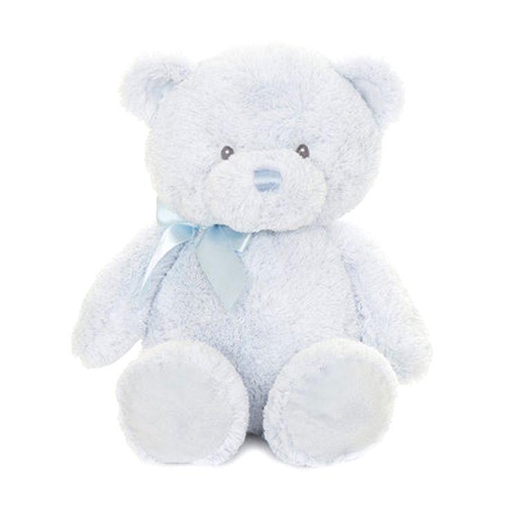 Superzachte lichtblauwe beer met lichtblauwe strik. Dit wordt baby's allerliefste beer.