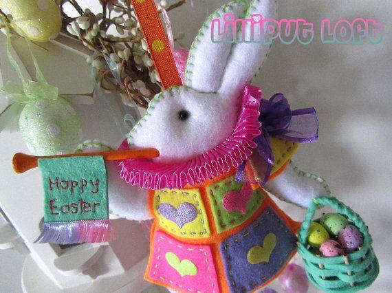 Nursery Mobile  Easter Bunny by lilliputloft on Etsy, $60.00: Nurseries Mobiles, Bunnies Nurseries, Easter Bunnies, Mobiles White, Mobiles Easter, Mobiles Idea, Felt Art, White Rabbit, Bright Pastel
