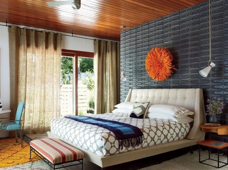 Minimalist mid century modern bedroom with mid century - Midcentury modern bedroom furniture ...