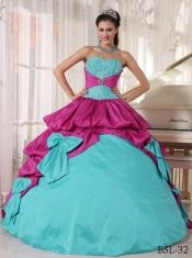 Classical Quinceanera Dress In Colourful Sweetheart With Appliques And Bow