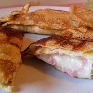 crêpes à la béchamel, jambon blanc et fromage