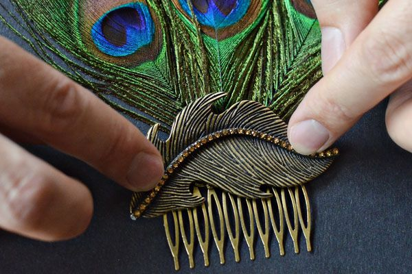 diy hair combs | Adhere brooch or pendant to hair comb, holding in place until it sets ...