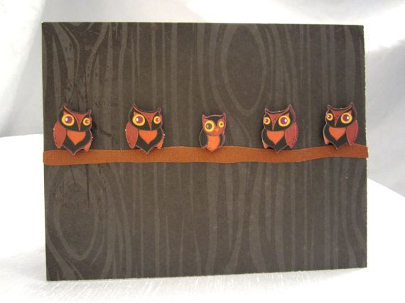 Cute Little Spooky Owls on Branch Happy by WistfulWhimsyDesigns