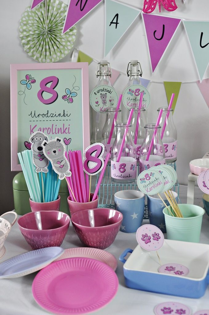 sweet table for girls kids . Puppy , butterfly style sweet table / słodki stół Urodzinki Przyjęcie dla dziewczynki