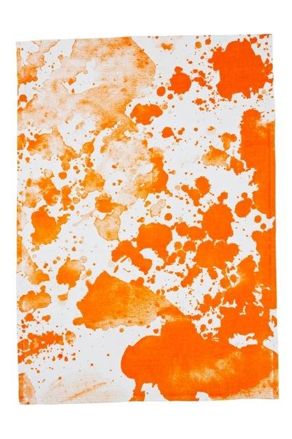 hand screen printed linen – watercolour orange tea towel #TT603 #bonnieandneil #roseagency #design #color #interiors #lifestyle