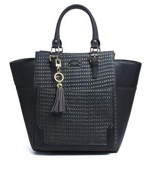 Paul's Boutique Black Raffia Melissa Shoulder Bag
