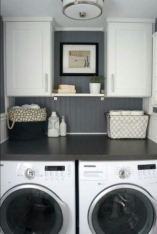 Wasmachine idee met opbergkast in één.
