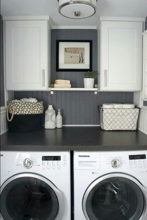 i like the SMALLER washer and dryer with a counter on top.... i wonder if we can build out the laundry room a bit....