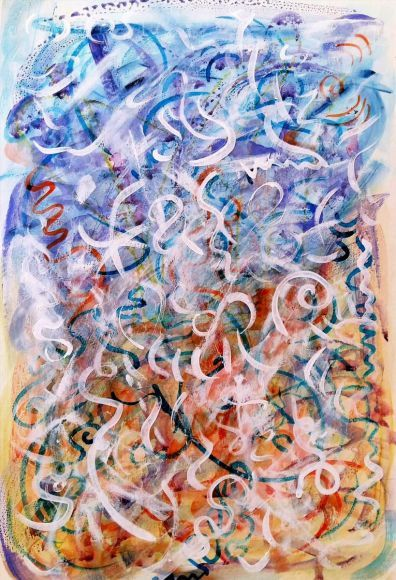 Air Elementals - Sylphs Kissing the Sky mixed media on heavy watercolour papermi
