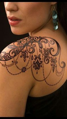 Image result for lace shoulder tattoos for women