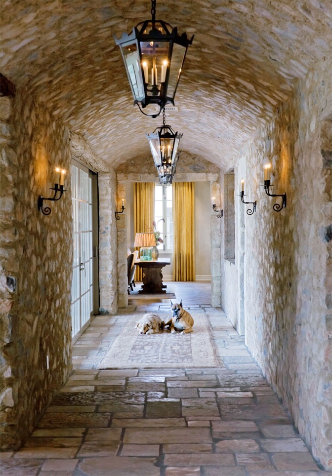 Tuscan style Gallery with barrel-vault ceiling.