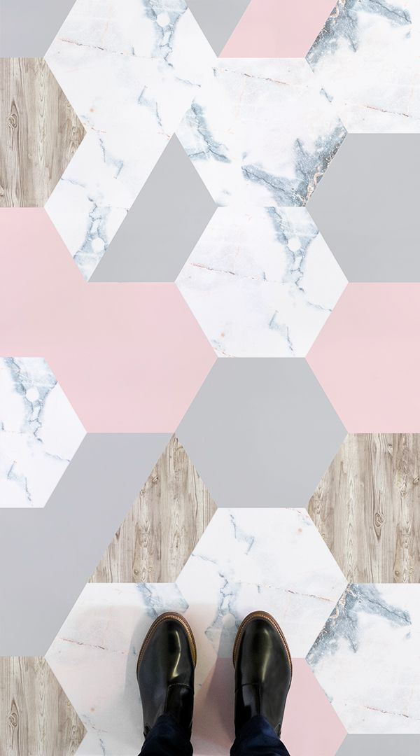 Rosa Is A Marble And Wood Tile Vinyl Flooring Design That Features