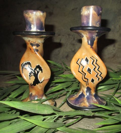 africanartonline.com - African Soap Stone Candle Stick Holders, One Pair,  Design: Rhino, Acacia Tree and African symbol. Hand carved in East Africa FREE SHIPPING WORLDWIDE http://africanartonline.com/african-soap-stone-candle-stick-holders/