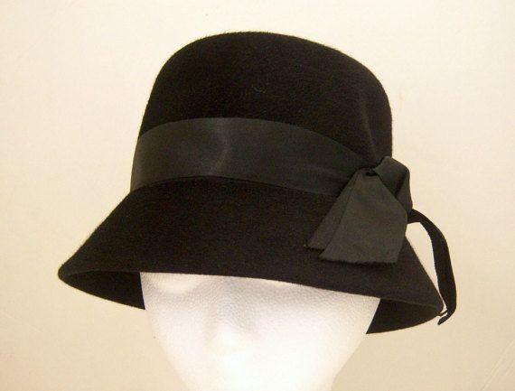 "1960s black bucket hat, Leslie James, for Pompadour, France,  black cloche hat, 21.5"" dahlilafound"