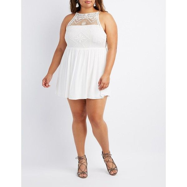 Charlotte Russe Crochet Bust Skater Dress ($35) ❤ liked on Polyvore featuring plus size women's fashion, plus size clothing, plus size dresses, white, crochet dress, charlotte russe dresses, plus size skater dress, white sleeveless dress and plus size bohemian dresses