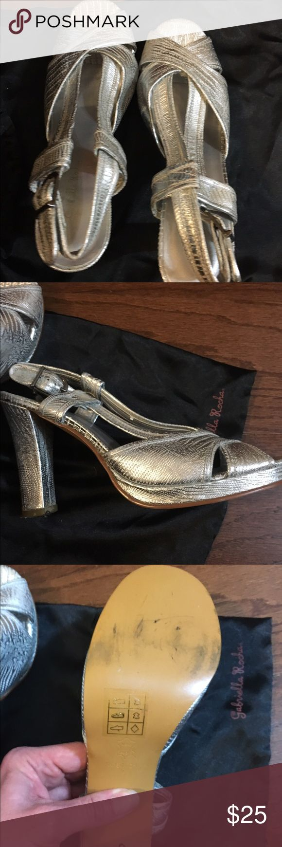Gabriella Rocha silver heels 6 1/2 I wore once for an occasion comes with dust bag about a 4 inch heel price is firm Gabriella Rocha Shoes Heels