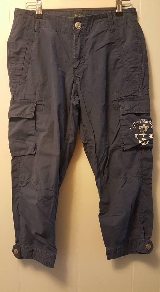 LAUREN JEANS Co Capris ~ Navy Blue ~ 6 P Petite ~ Cargo Pockets ~ Ralph Lauran #LaurenRalphLauren #CaprisCropped