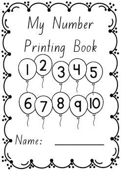 Numbers 1  10 printing/handwriting work booklets in Foundation font.