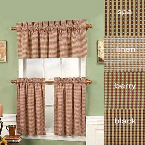 "Black 36"" Long Fleetwood Rod Pocket Tier Curtain Pair By"