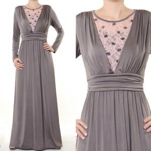 Grey/Pink Maxi Dress with lace - Royal Hijabs