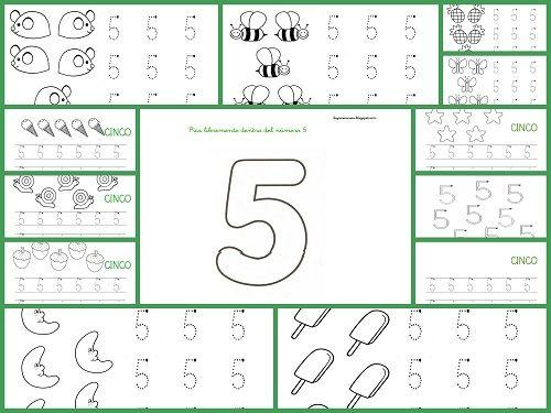 Fichas para aprender y repasar el Número cinco, aprender, trabajar la grafomotricidad y lectoescritura con el número cinco, contar, dibujar y colorear, etc.