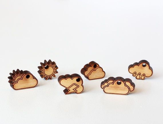 Weather Icons Set  collection of 6pcs wooden charms by Schmaser