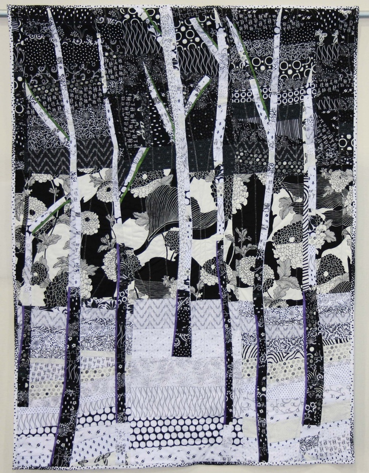 Pamela jensen aspen night black and white quilt