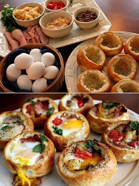 Ингредиенты:Хлебные булочки - 8 шт. Растительное масло - 2 ст. л.  Соль - 1 ч. л. Перец - 1 ч. л. Яйцо - 8 шт.  1. Отрежьте верх у булочек. Аккуратно вычистите булку, не повредив корочку.  2. Смажьте булочку внутри маслом и приправьте солью и перцем.  3. А теперь сюрприз! Вы можете положить внутрь булочек все, что угодно! И сыр, и бекон, и свежие овощи, и колбасу! Доверьте этот процесс детям, ведь они такие выдумщики. Разбейте в каждую булочку яйцо.  4. Пожарить или запечь в духовке.