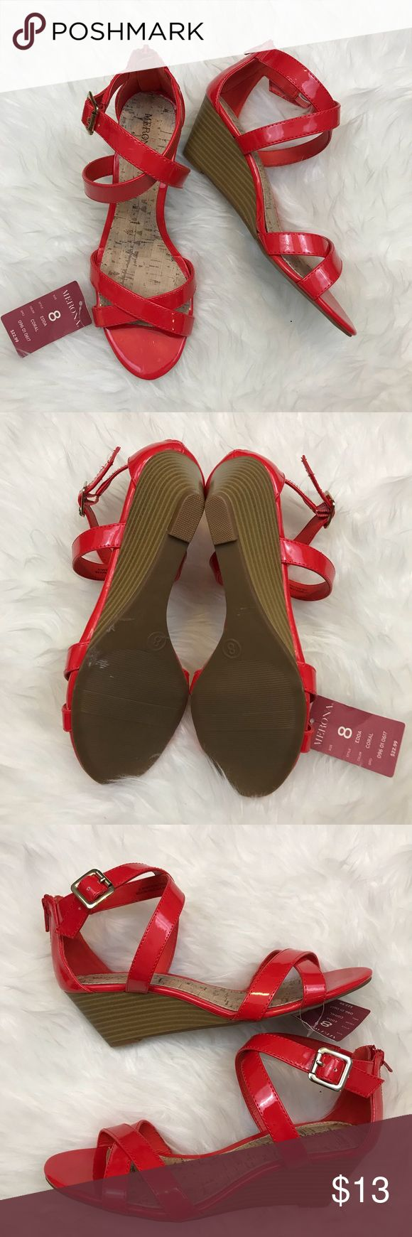 Merona Zip Back Coral Wedge Sandal - Edda Style Brand new and super cute coral color! Non-smoking home. Part of 3/$24 sale - see listing at top of closet. Merona Shoes Sandals