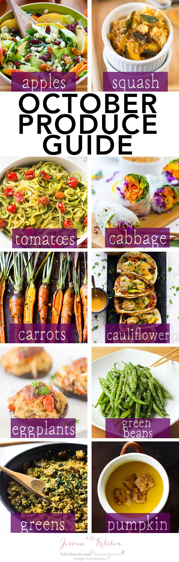 What's in Season: October Produce Guide. Here's a list of what you should cook this October based on what produce is in season for fresh, delicious and healthy recipes! via http://jessicainthekitchen.com