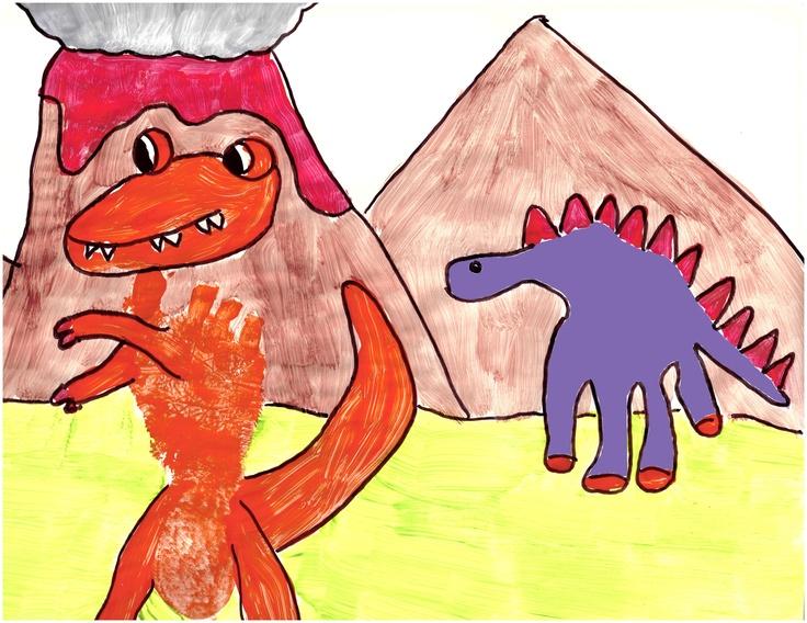Dinosaur hand print and footprint
