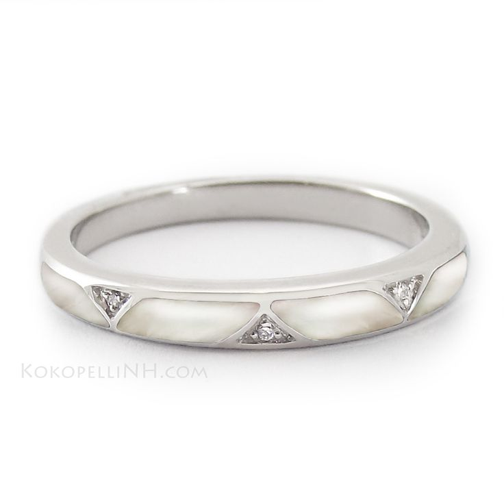 """""""Sinuous Shell"""" Women's Mother of Pearl Wedding Band #bridaltransformed"""