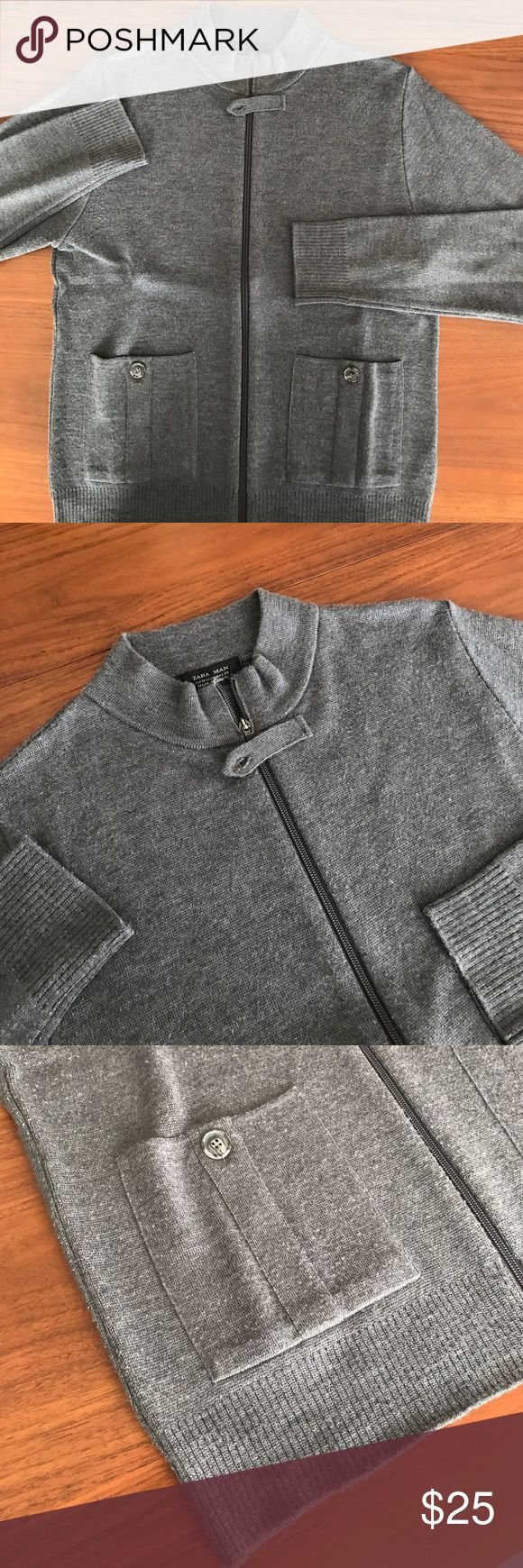 Zara Men's Cardigan Grey, full zip, front pocket Cardigan Zara Sweaters Zip Up