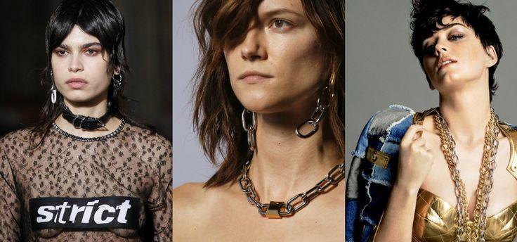 Collane Donna 2016-2017  Catene di diverse lunghezze e spessore come nelle collezioni di Moschino e Alexander Wang, e collane-colletto aggressive come quelle di Alexander McQueen.