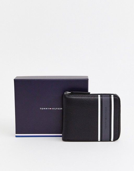 5708c63e673b0 Tommy Hilfiger zip around wallet with gray stripe detail in black   walletstommyhilfiger