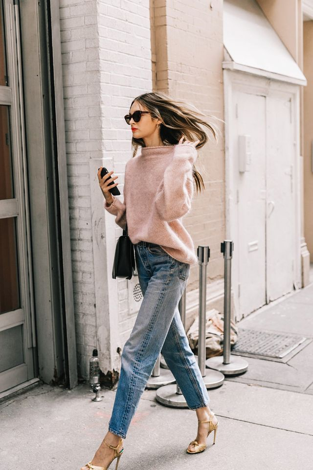 You can't go wrong with a cozy sweater and comfortable mom jeans.