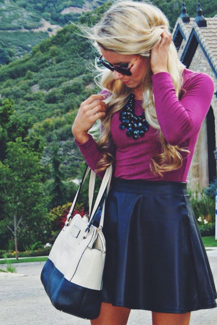 J'aime cette tenue, un jupe est pas mon style, mais c'est Emma's style. Je le porterais  en autumne mais pas en ete. J'aime un pull violette Parce-que chic.