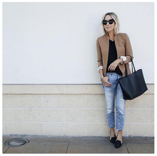 With a Neutral Blazer, Complementing Tee, and Baggy Jeans. What to Wear With Black Flats | POPSUGAR Fashion