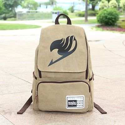 """17"""" Anime Fairy Tail Mens Vintage Canvas Backpack Camping Rucksack Schoolbag"""