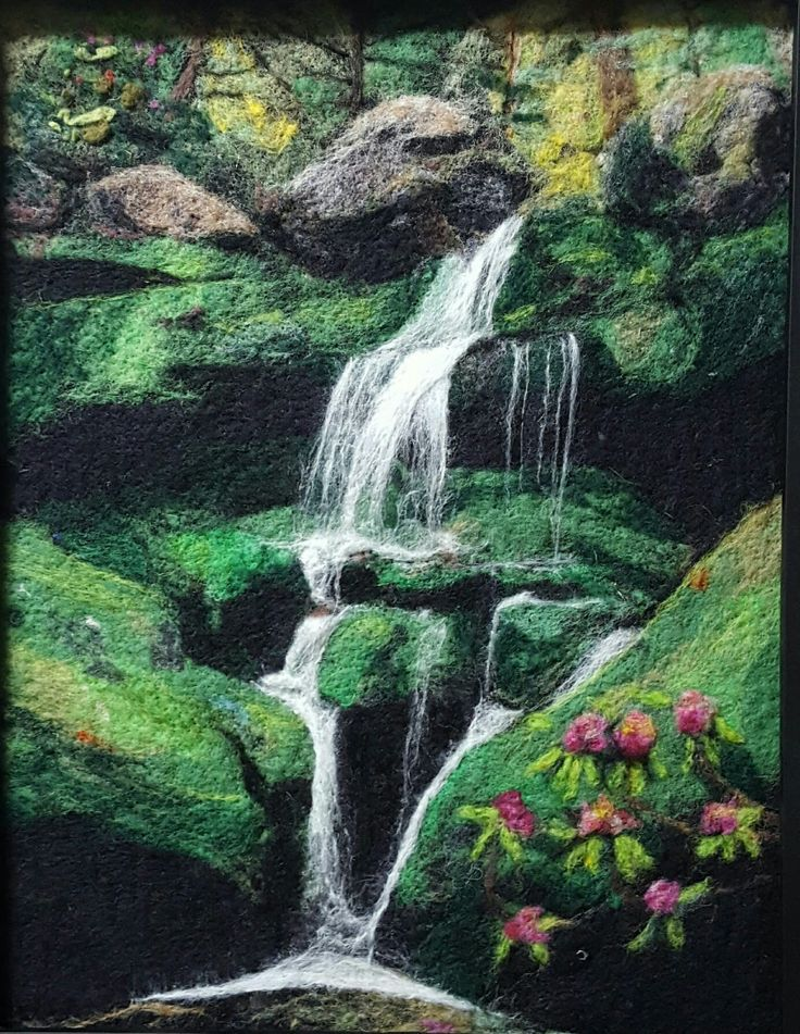 Lower grotto falls wool painting by www.conspiracyofloveart.com